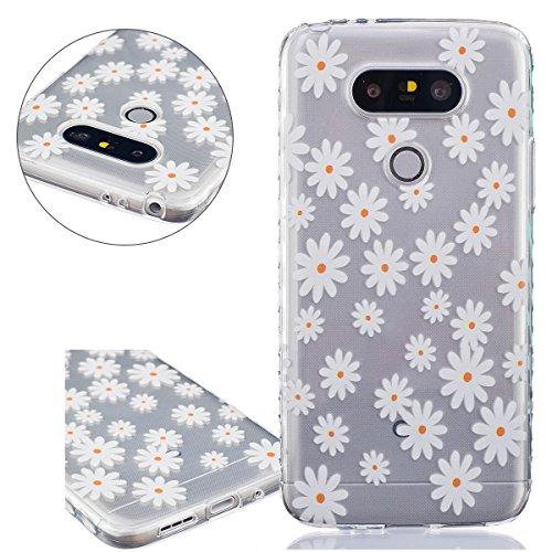 ISAKEN Compatibile con LG G5 Custodia Soft Cover, Ultra Sottile Silicone Custodia Morbido Cover Flessibile Protettivo Skin Case UltraSlim TPU Caso con Printing Drawing Pattern, Fiori Gialla
