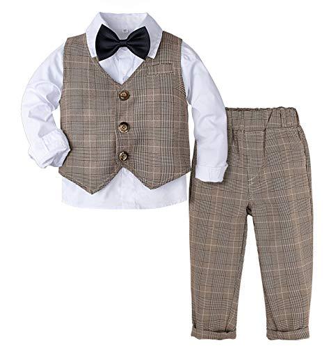 mintgreen Smoking Gentleman Kinderanzug für Junge 4 pcs Fliege + Hemd + Weste + Hose Bekleidungsset, Khaki, 18-24 Monate (Herstellergröße : 90)