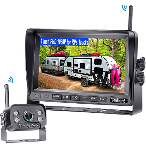 Rohent R9 HD 1080P RV Wireless Backup Camera with 7 Inch Monitor High-Speed Rear View Observation System for Trucks,Trailers,5th Wheels Super IR Night Vision IP69K Waterproof 170 Degree View Angle