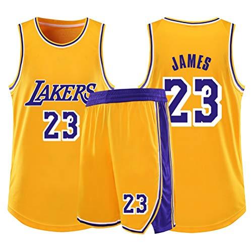Ventiladores Lebron James Niños Niñas Baloncesto Jersey fija, Los Angeles Lakers No.23 alero joven jerseys chaleco del verano camisa + cortocircuitos de dos piezas ( Color : Yellow(A) , Size : XL )