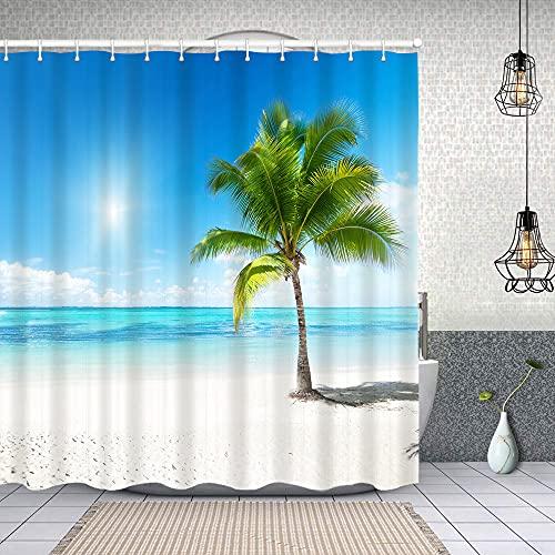 Cortina de Baño con 12 Ganchos,Palm en la Playa República Dominicana,Cortina Ducha Tela Resistente al Agua para baño,bañera 150X180cm