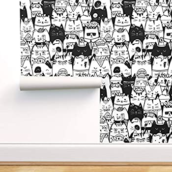 Spoonflower Peel and Stick Removable Wallpaper Cats Kittens Kitty Cat Cute Cat Adorable Black and White Funny Print Self-Adhesive Wallpaper 12in x 24in Test Swatch