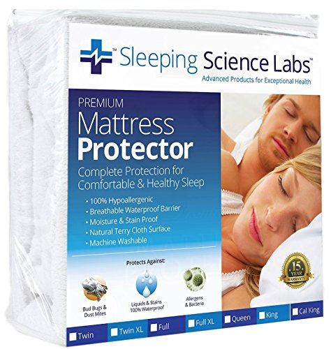 Sleeping Science Labs Twin XL Size Waterproof and Hypoallergenic Mattress Protector