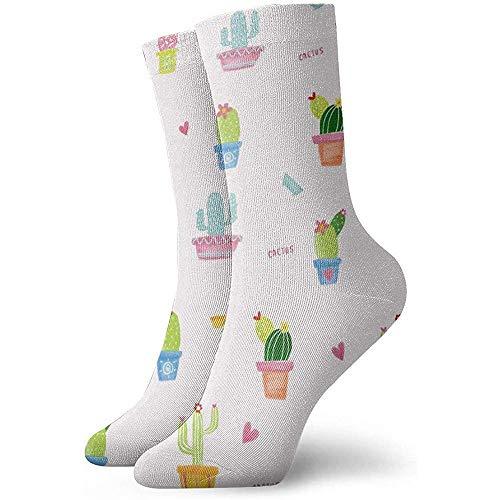 hdyefe Casual Crew Socken, Damen/Herren Sportsocken, Custom Neuheit Socken, Lustige Socken, Halloween Cosplay Socke, Kaktus Pflanze Aquarell Nahtlose Fußball Socken Tube Socken 30CM Classic Socken
