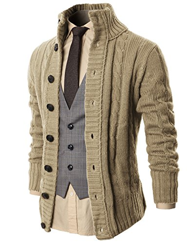 H2H Mens Cable Knit Shawl Collar Cardigan Style Sweater Ivory US L/Asia XL (KMOCAL020)