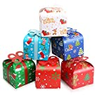 LOKIPA 24pcsChristmas Kraft Paper Gift Treat Goody Candy Sweet Boxes, 6 * 6 Inch Xmas Party Paper Treat Candy Boxes with Bow for Christmas Favor