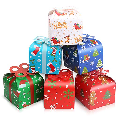 LOKIPA 24pcsChristmas Kraft Paper Gift Treat Goody...
