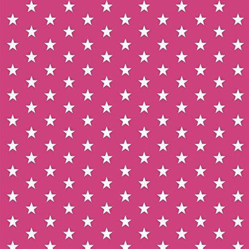 babrause® Baumwollstoff Sternchen Pink Webware Meterware Popeline OEKOTEX 150cm breit - Ab 0,5 Meter