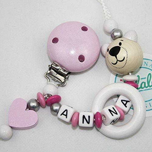 Schnullerhalter Schnullerkette Rosa mit Namen und Herz für Mädchen zur Baby Geburt und Taufe, Individuelle Namenskette