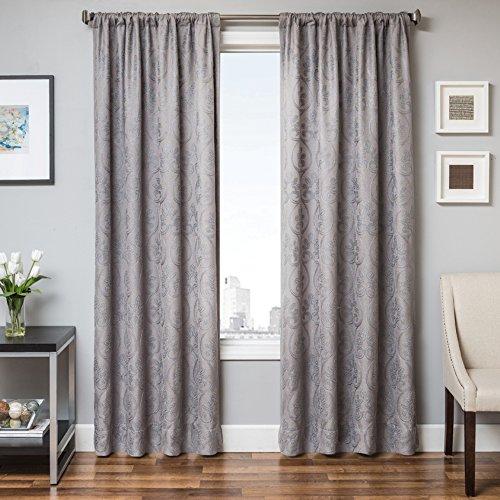 Softline Colby Premium ungefüttert Fenster Sheer/Vorhang/Panel/Behandlung mit 7,6cm Rod Tasche mit traditionellen Medaillon-Stil Muster, grau/blau, 139,7x 213,4cm
