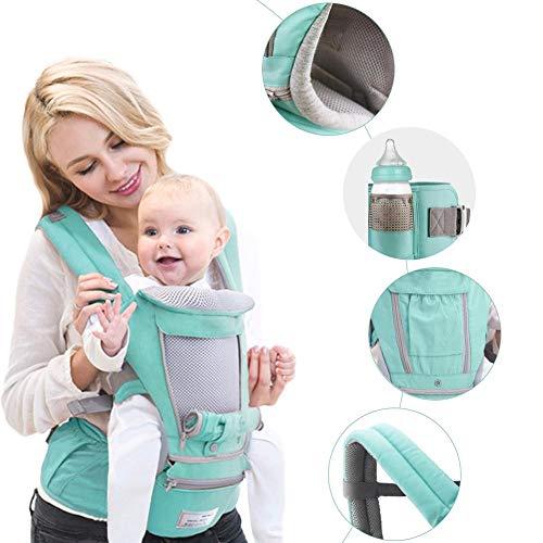 libelyef Babytrage Bauchtrage 4 Positionen Ergonomische Babytragetasche Kindertrage Baby Tragesystem Mit Kapuze, Für Neugeborene Ab Geburt Bis 20kg (Grün)