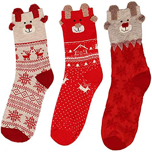 3 Paia di Calzini di Natale, Calze Natalizie Donne Inverno Caldo, Calzini del Fumetto di Natale, Fiocco di Neve di Renne, per i Regali di Natale, Stare al Caldo in Inverno
