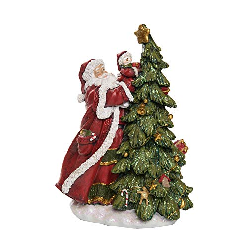 """Contemporary Home Living 14"""" Green and Red Traditional Christmas Tree Decor with Santa"""