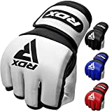 RDX MMA Gloves for Martial Arts Grappling Training, D. Cut Open Palm Maya Hide...