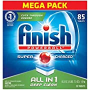 Finish All in 1 Powerball Fresh, 85ct, Individually Wrapped Dishwasher Detergent Tablets