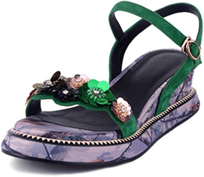 Black Women Sandals Flower Sequins Slipsole Summer shoes Belt Buckle Platforn shoes