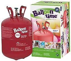 Helium für Luftballons als witziger Partyspaß - BalloonTime Heliumflasche mit 250 Liter Ballongas - Große Helium Einwegflasche als Partyzubehör - Luftballongas für bis zu 30 Ballons