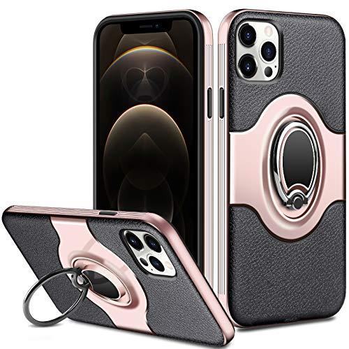 ELOVEN Case Compatible with iPhone 12 Case/iPhone 12 Pro 6.1 inch Case with 360 Degree Rotation Ring Kickstand Work with Magnetic Car Mount Shockproof Dual Layer Protective Non-Slip Case Rose Gold