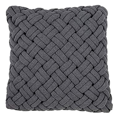 SARO LIFESTYLE Tisserand Collection Poly and Cotton Blend Throw Pillow with Down Filling and Chunky Weave Design, 18 , Slate