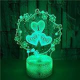 FREEZG lamparitas de noche dormitorio Letras flores amor dibujos animados Lámpara de escritorio de mesa táctil que cambia de 7 colores para dormitorio de niños con regalos de cumpleaños para bebés