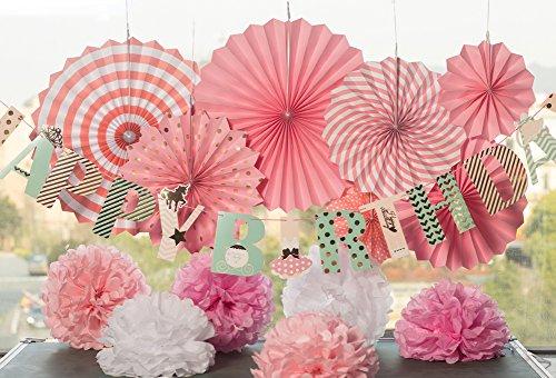 Easy Joy Happy Birthday Girlande Rosa Geburtstag Dekoration Set Fächer Pompoms Deko