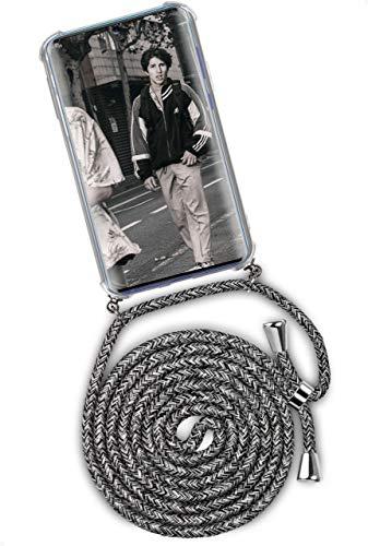 ONEFLOW Twist Hülle kompatibel mit Samsung Galaxy A51 - Handykette, Handyhülle mit Band zum Umhängen, Hülle mit Kette abnehmbar, Grau Weiß