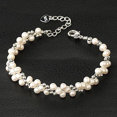 Pulsera De Piedra Mujer,Damas Elegante Barroco Multicapa Perlas Blancas Naturales Delicado Elegante Brazalete De Plata Brazalete Elegante Boda Regalo De Joyería para Mujeres Niñas