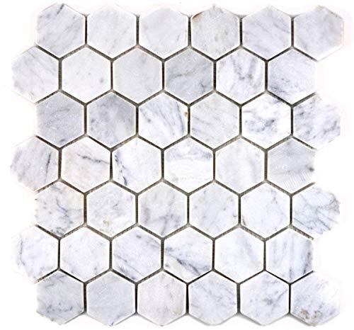 Carrara MOS44-0103 - Azulejos de mosaico (mármol natural, hexagonal), color blanco
