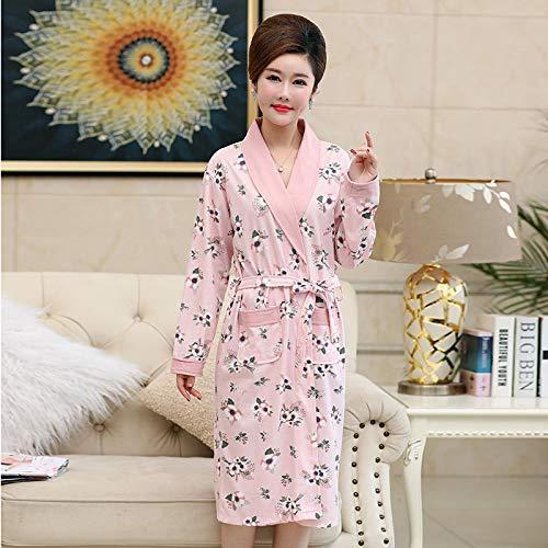 DFDLNL Batas de algodón Bata Ropa de Dormir Pijamas Florales Mujer Albornoz Informal Tamaño Grande Camisón Largo Mujeres Kimono XXL