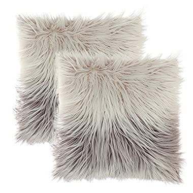 KIMODE Set of 2 Luxury Throw Pillow Covers Soft Plush Faux Fur Cushion Pillow Cover Case For Couch Home Decorative (18''x18'', Gradient Grey)