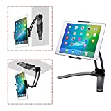 AERZETIX Kitchen Wall Tablet Stand Adjustable Pull-Up Lazy Bracket 2-in-1 Aluminum Wall Desktop Mount Support for 5-13' Width i-Pad Phone Holder (Black)