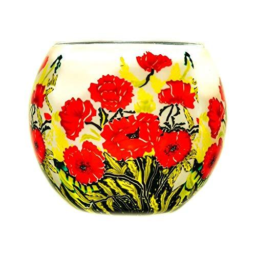 Benaya Art Ceramics - Portacandela in vetro, design classico, motivo: papaveri