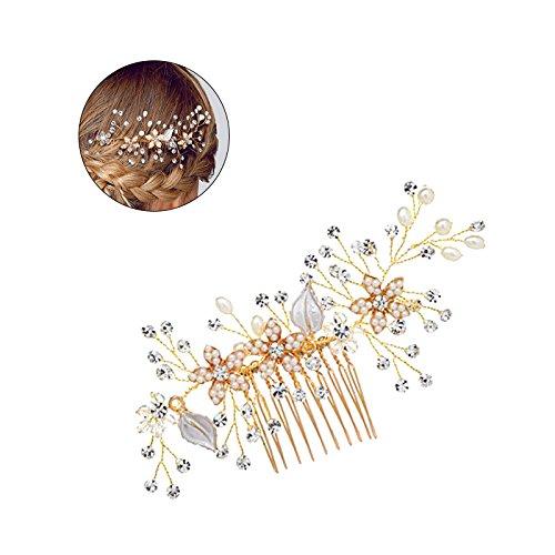 Peineta de perlas y diamantes de imitación, accesorio para el pelo para...