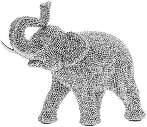 Statuetta ornamentale a forma di elefante, in argento, con brillantini, idea regalo per la casa