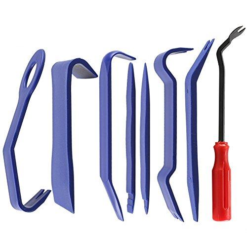 Auto Demontage Werkzeuge,Zierleistenkeile Set,8 In 1 Verkleidung Werkzeug,für Auto Car KFZ Tür Clip Panel Audio Video Armaturenbrett Öffner Demontage Kits Installateur Pry Werkzeug(Blau) (Blau+Rot)