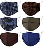 Pleated Face Mask Reusable Washable Cloth Cotton Fabric for Male Men Adult Unisex Breathable Comfortable Lightweight Adjustable Dust Athletic Sport Running Gym Exercise Camo Military Camoflauge Army