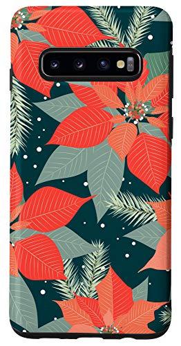 Galaxy S10 Orange Blue Cute Merry Christmas Floral Poinsettia Gift Case