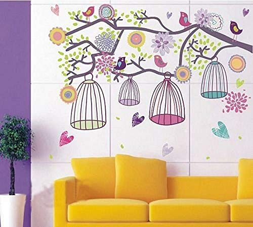 WALPLUS Wall Stickers Colourful Birds Cage On Tree Branch Removable Self-Adhesive Mural Art Decals Vinyl Home Decoration DIY Office Décor Wallpaper Kids Room Gift, Multi-Colour