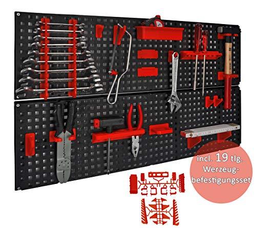 Werkzeugwand mit 19 teiligem Werkzeugbefestigungsset, Länge 80 cm x Breite 48 cm – beliebig erweiterbar - 3