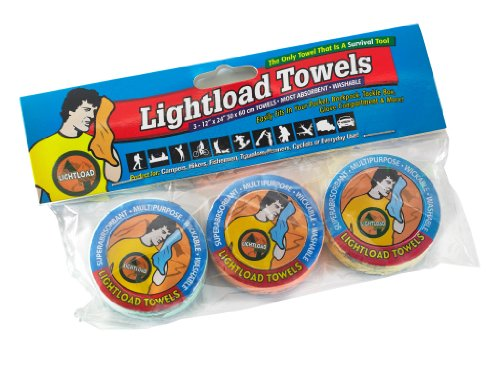 Lightload Towels Compressed Wash Cloth Hand/Face Disposable Washable Non Microfiber Quick Dry Pack Camp Travel Towel .5 oz 3 Pieces 12x24 inches