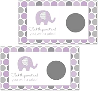Purple Elephant Scratch Off Games for Girls Baby Shower and Party (28 Cards)