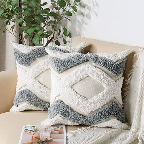 Mingfuxin, federe per cuscini in tessuto trapuntato, stile bohémien, 40 x 40 cm, federe decorative per divano letto, soggiorno, set di 2 cuscini quadrati moderni.