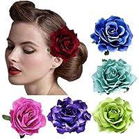 DRESHOW 5 Pack Flor Broche Adorno de cabeza Novia Mujer Flor de Rose Accesorios para el cabello Pinza de pelo de boda Bailarina de flamenco