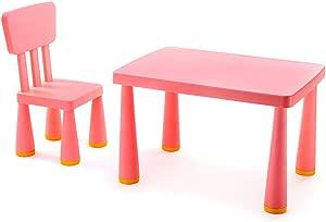 EXCLVEA-TCS Baby Activity Table- Children s Plastic Table  amp  Chair Set Plastic Indoor Outdoor Children s Table Chair Baby Play Table  Color Pink  Size 77x54 5x48 5 66 5x30 5cm
