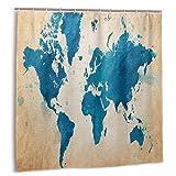MYGED Cortina de Ducha Vintage Mapa del Mundo Acuarela Tela Vieja Cortinas de baño Decoración Set 72 X 72 Pulgadas Plástico