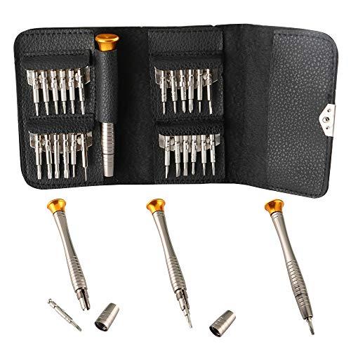 CESFONJER 25-teilig Schraubenzieher Set, Mini Schraubendreher geeignet für die Wartung: Handy, PC Laptop, Tablett, iPad, Uhr, Autoschlüssel, mit schwarzer Tasche.