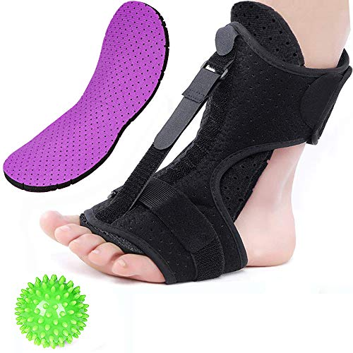 Plantar Fasciitis Night Splint Foot Drop Orthotic Brace, Adjustable Night Splints for Plantar Fasciitis, Arch Foot Pain, Achilles Tendonitis Support with Hard Spiky Massage Ball & 2 Pairs Arch Support