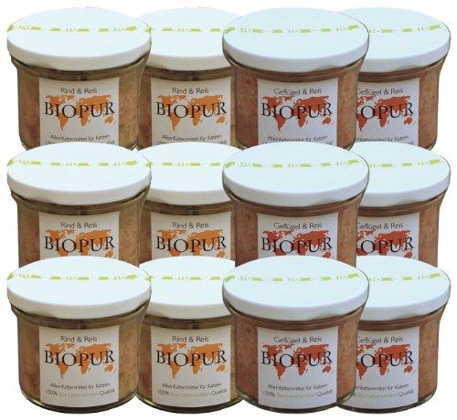 Biopur Mix-Set 12 x 100g Sorten: je 6xRind und 6xGeflügel Bio-Katzenfutter im GLAS, 1er Pack (1 x 1.2 kg)