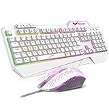 havit Gaming Tastatur und Maus Set, LED Hintergrundbeleuchtung QWERTZ (DE-Layout), Gaming Maus mit 4 LEDs als Beleuchtung (800/1200 / 1600/2400 DPI einstellbar) (Weiß)