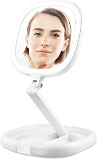 Foldable 1x/7x Double-sided LED Illuminated Cosmetic Mirror, Tabletop LED Lighted Makeup Mirror, Compact/Portable/Collapsible Travel Vanity Mirror with Dimmable Light